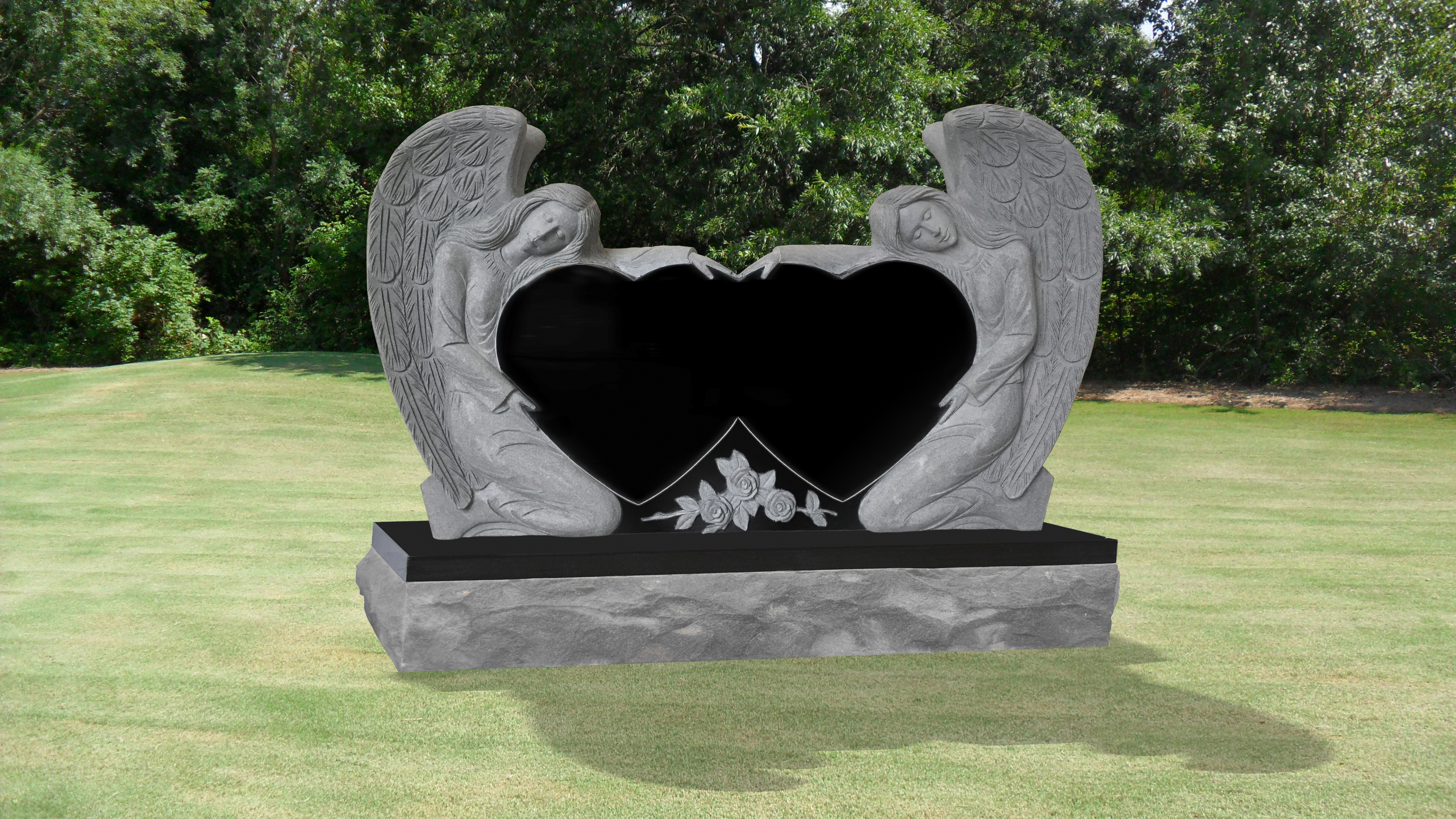 Double Angel Double Heart Headstone