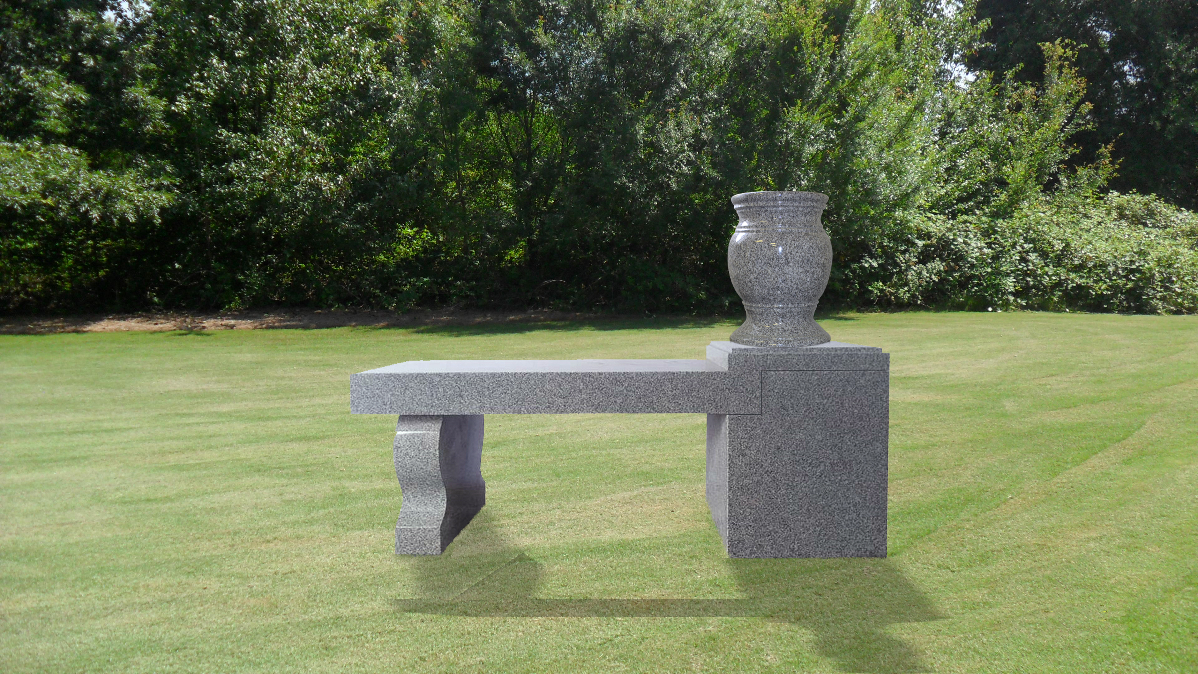 deluxe Cremation Bench with pedestal 1