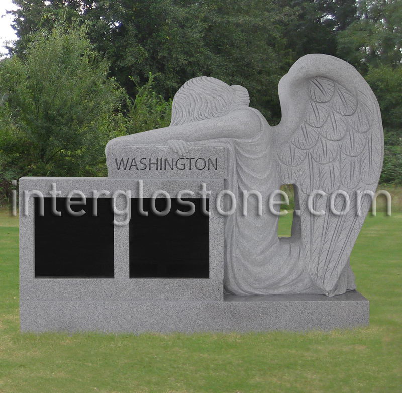 Kneeling Angel Two Niche Headstone