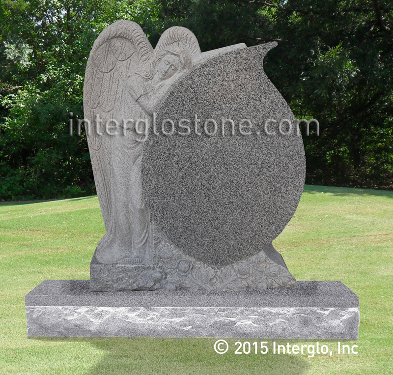 Leaning Angel Tear Drop Headstone