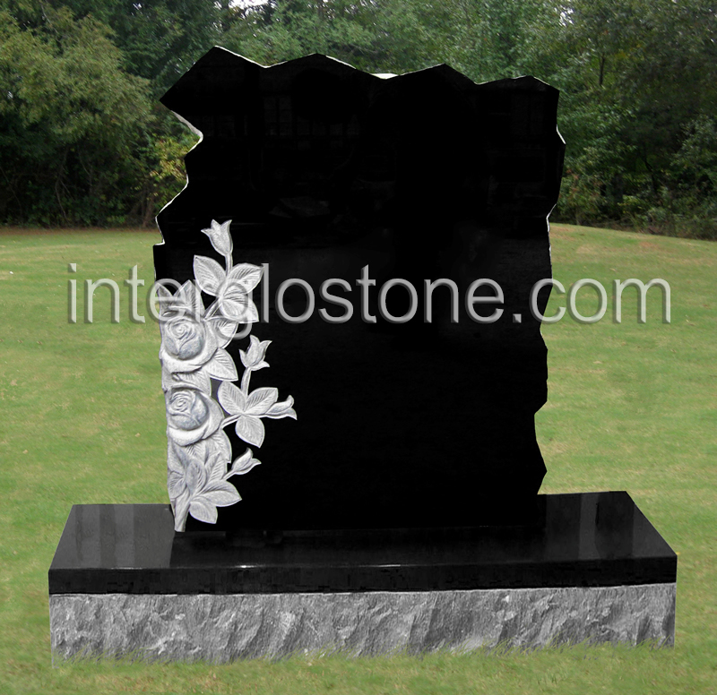 Rock with Flowers Headstone