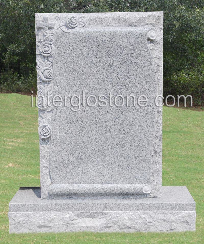 Scroll with Cross & Flowers Headstone