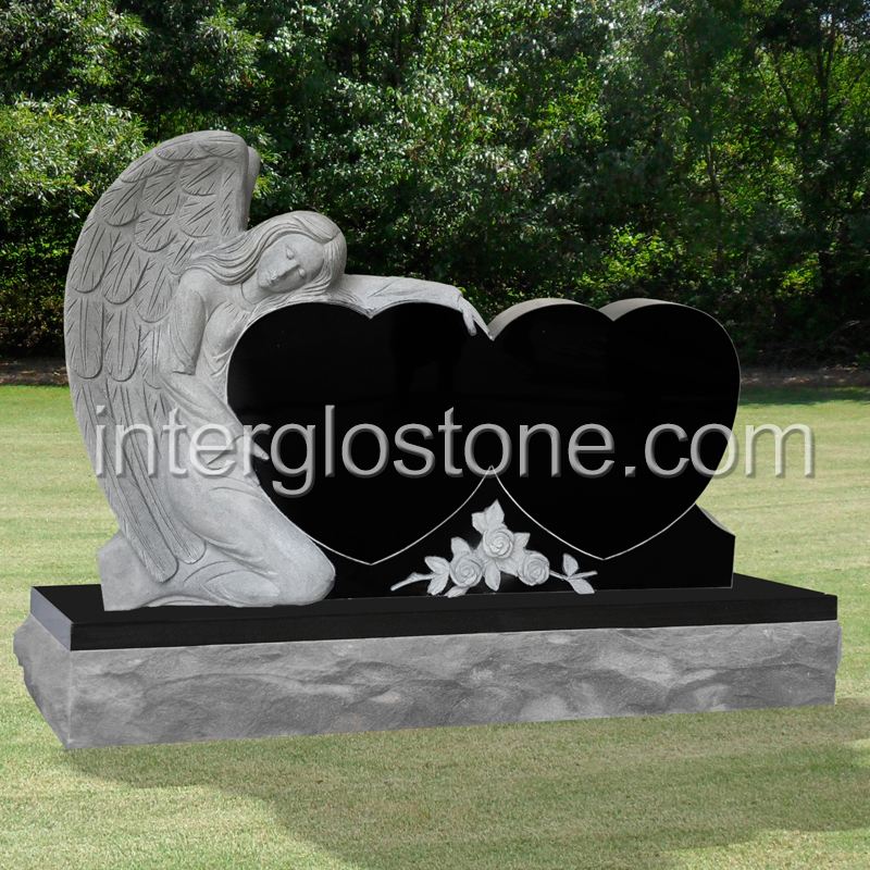 Single Angel Double Heart Headstone