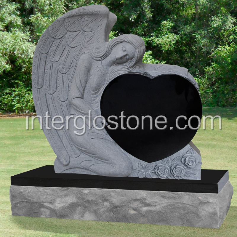 Single Angel Heart Small Headstone