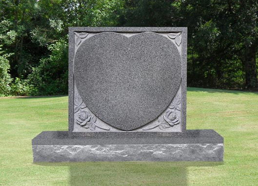Single Heart with Recessed Flowers Headstone