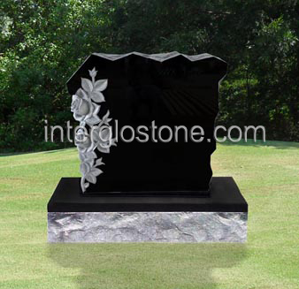 Small Rock with Flowers Headstone