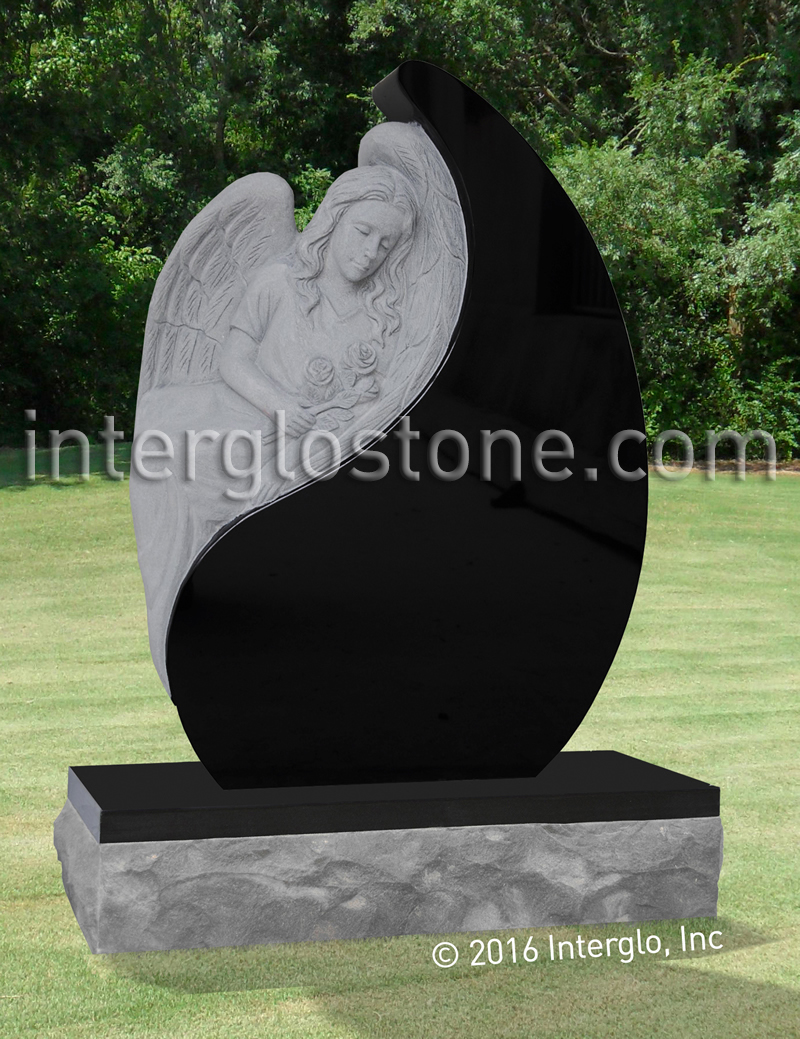 Angel in Tear Drop Headstone
