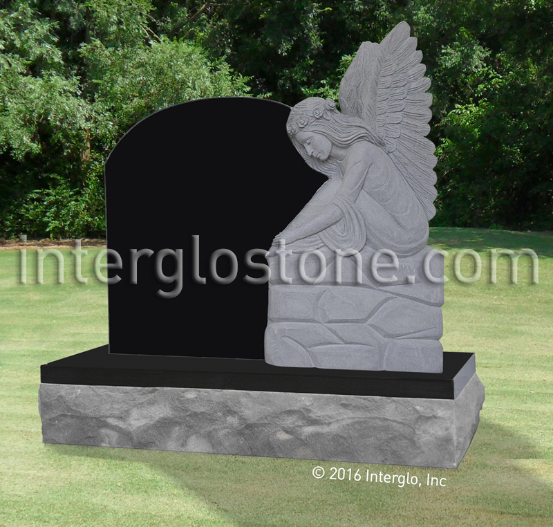 Angel with Flowers in Hair Headstone