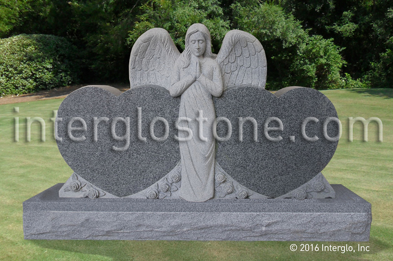 Praying Angel Double Heart Headstone