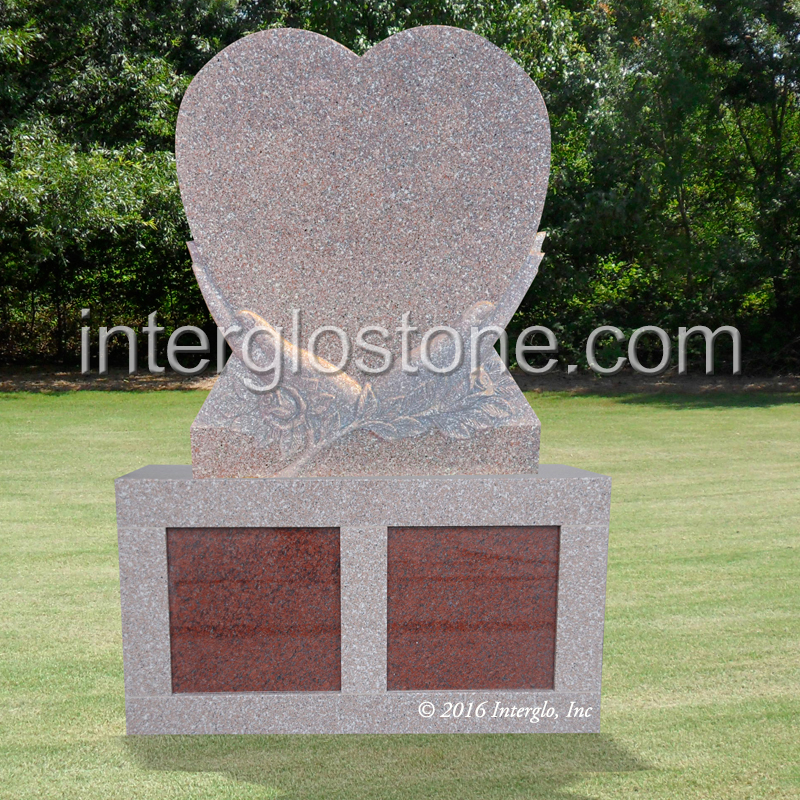HEART IN HANDS HEADSTONE ON BASE UNIT