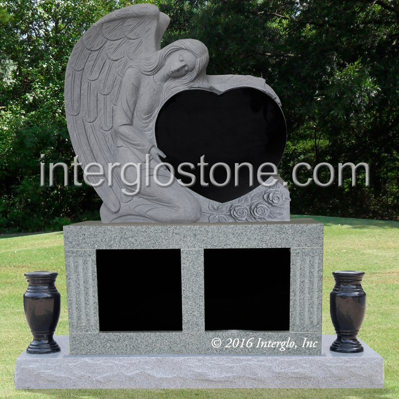 Angel HOLDING Heart HEADSTONE on Base UNIT