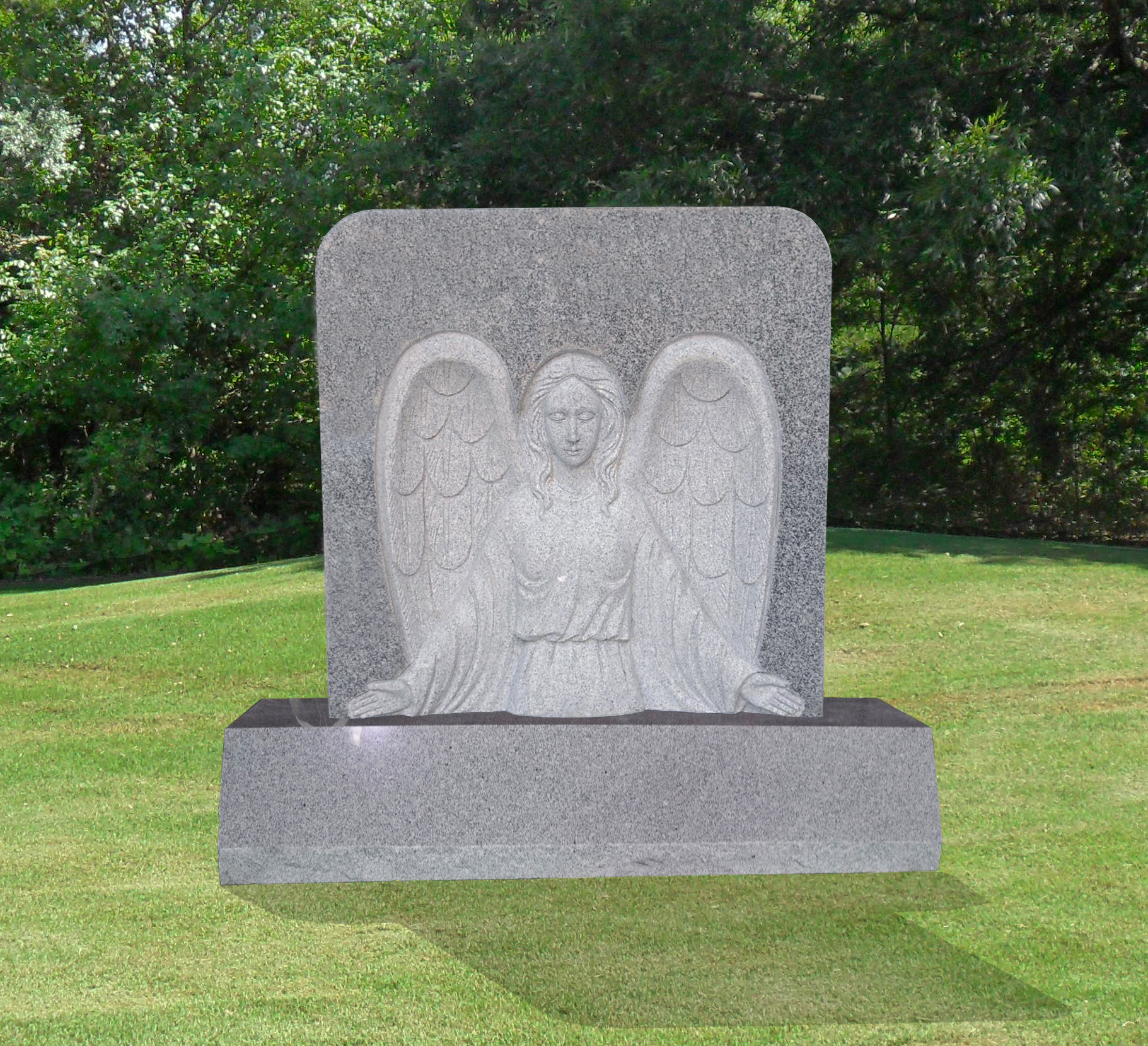 Guardian Angel 3 Bas Relief Headstone