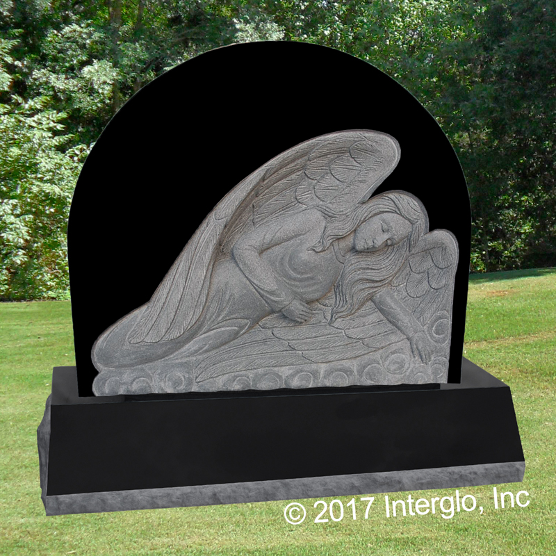 Single Angel on Clouds Bas Relief Headstone
