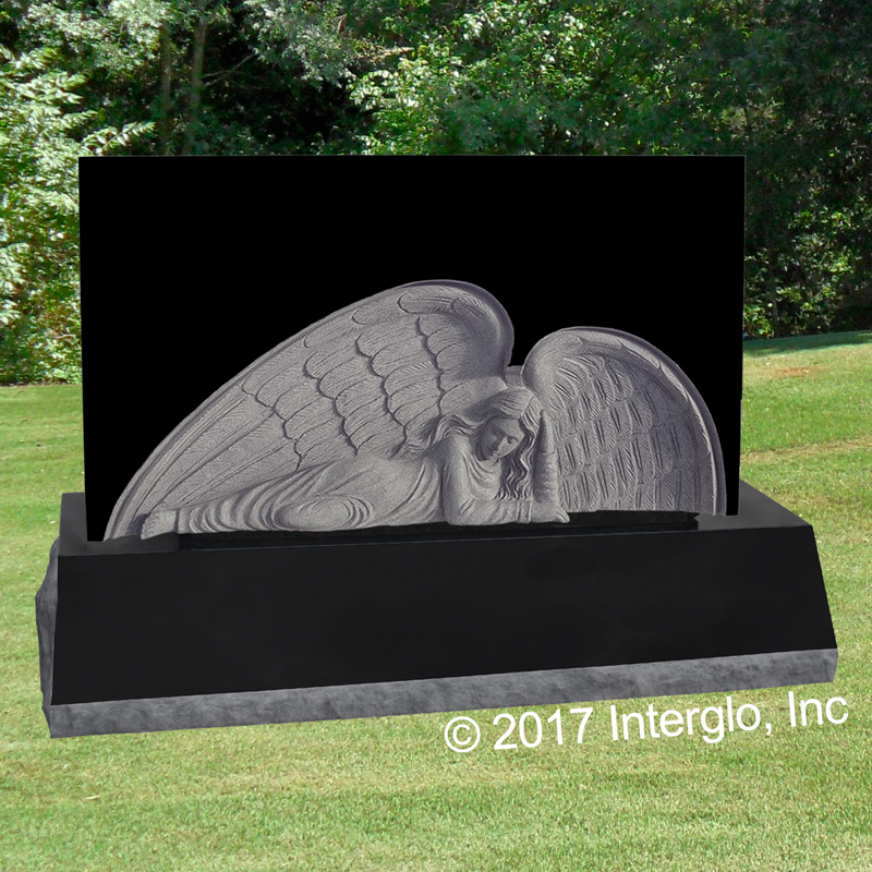 Angel in Repose Bas Relief Headstone