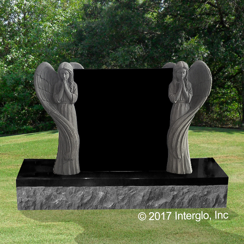 Double Praying Angel Headstone