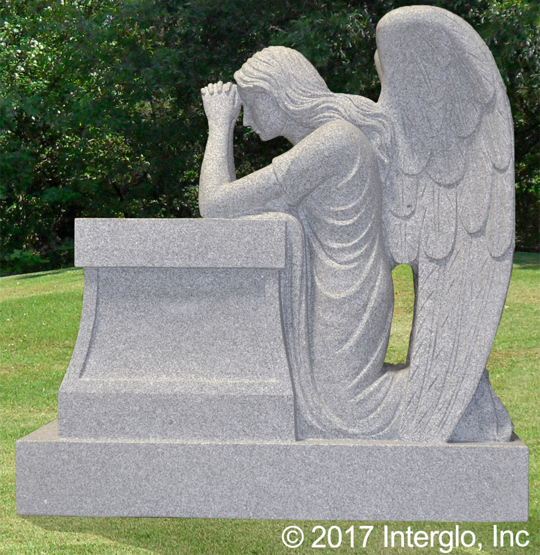 Kneeling Angel on Pedestal Headstone