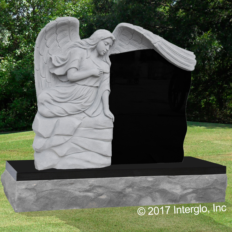 Sitting Angel 3 Headstone