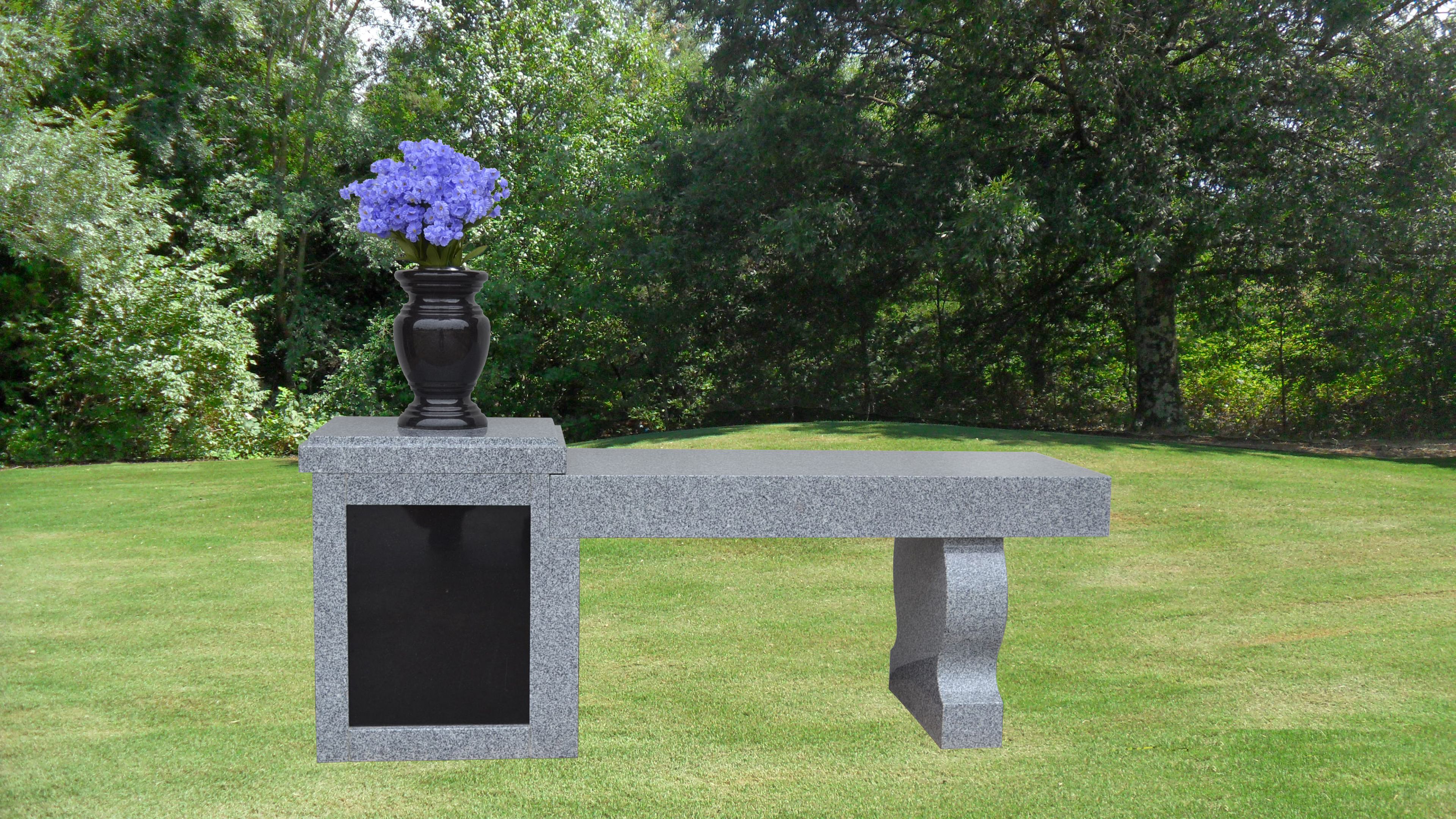 deluxe cremation bench with pedestal 2