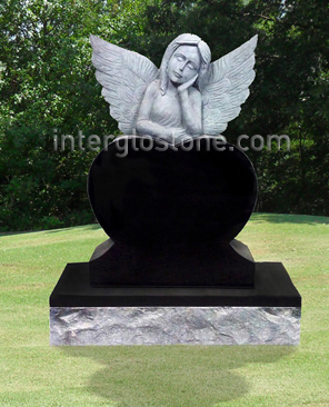 Dreaming Angel Heart Headstone