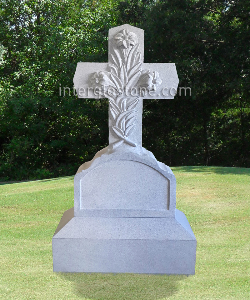 Floral Cross 1 Headstone