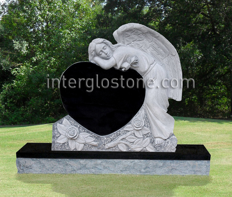 Grieving Angel Heart 2 Headstone