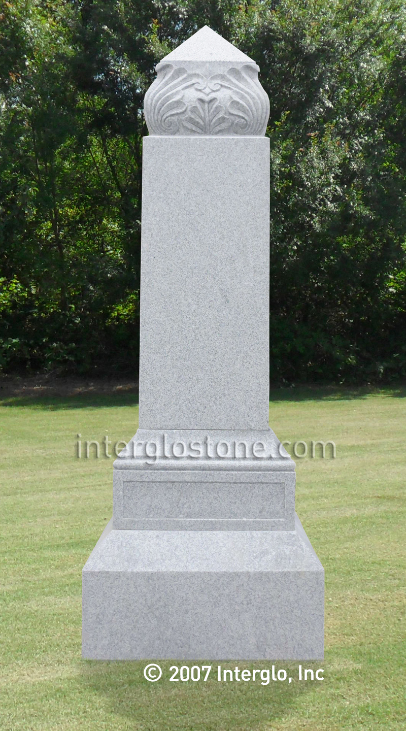 Leaf Top Obelisk Headstone