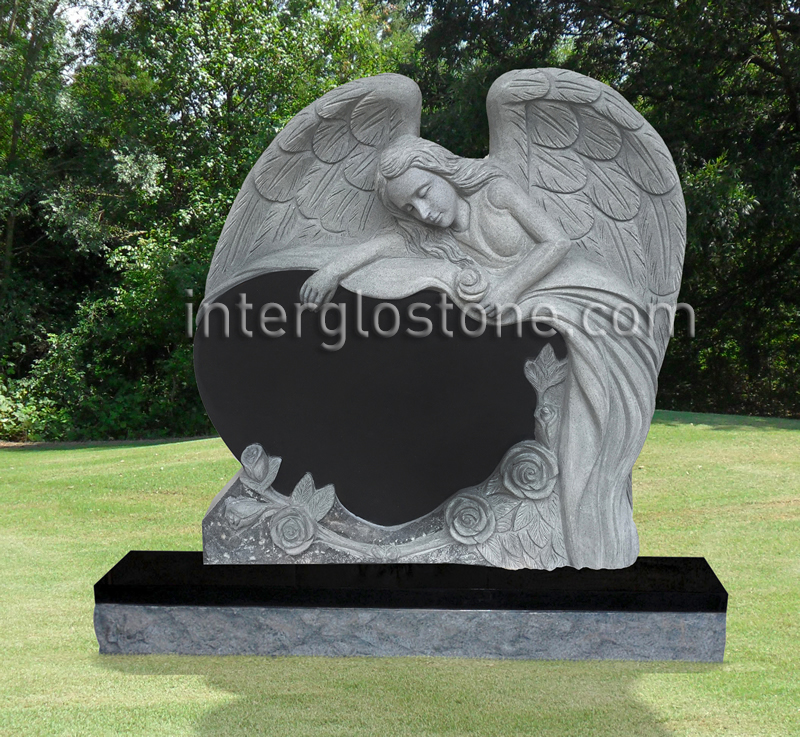 Reclining Angel Heart 3 Headstone
