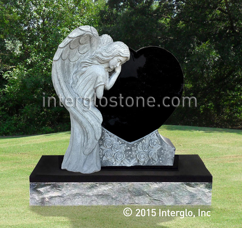 Single Angel Heart 2 Headstone