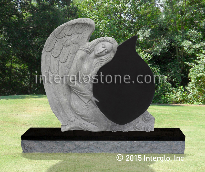 Single Angel Tear Drop Headstone