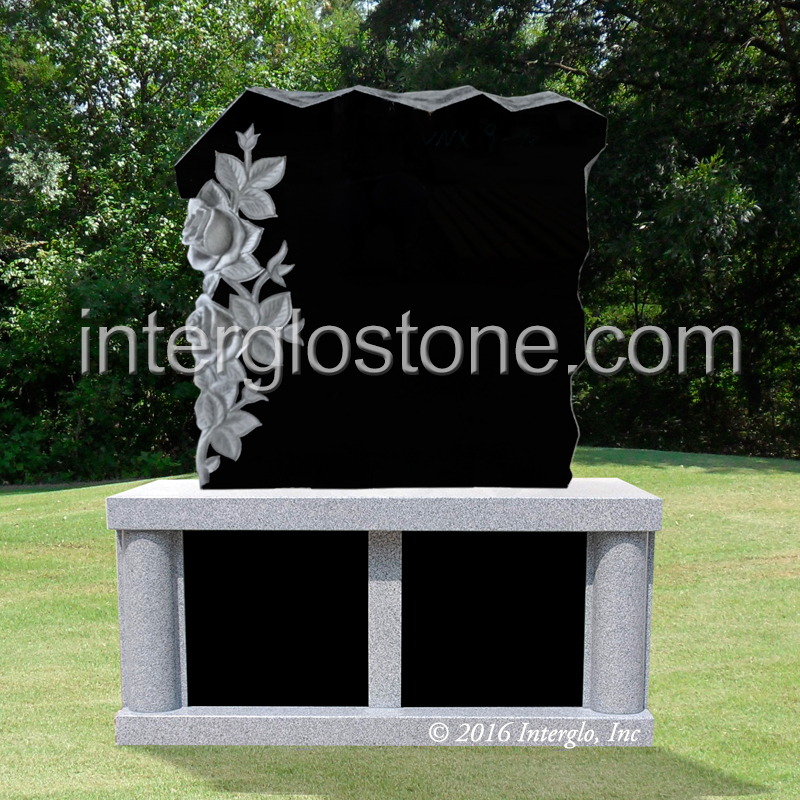 ROCK WITH FLOWERS HEADSTONE ON BASE UNIT