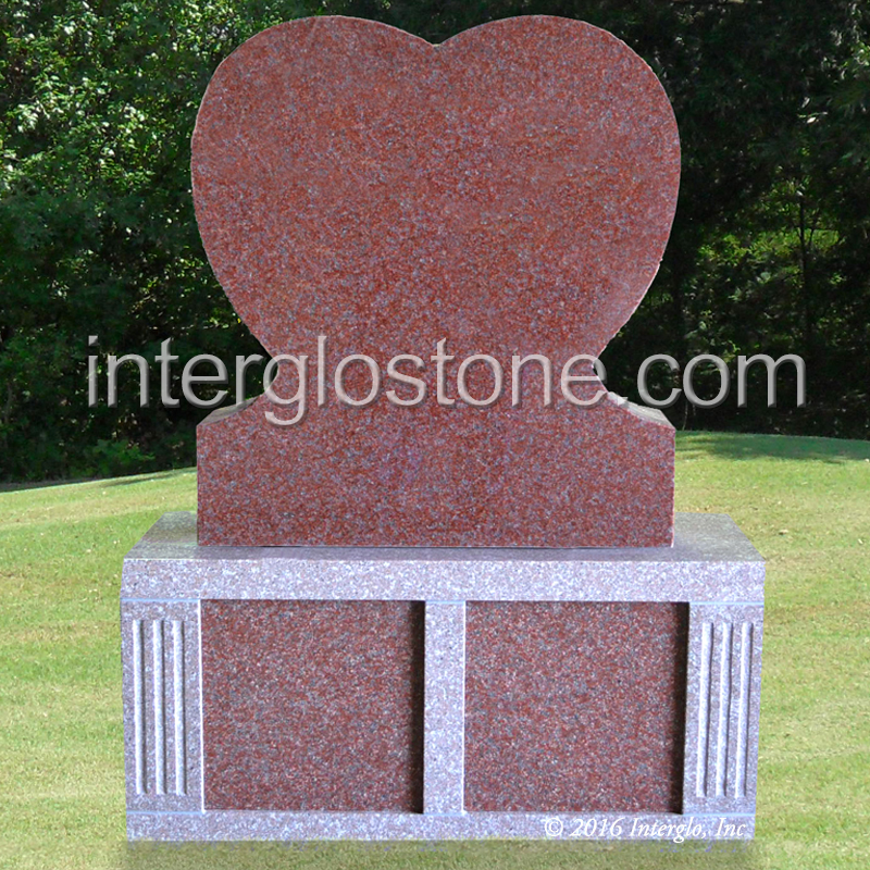 SINGLE HEART HEADSTONE ON BASE UNIT