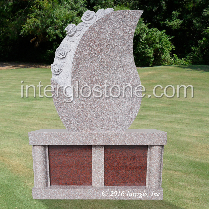 TEAR DROP WITH FLOWERS HEADSTONE ON BASE UNIT
