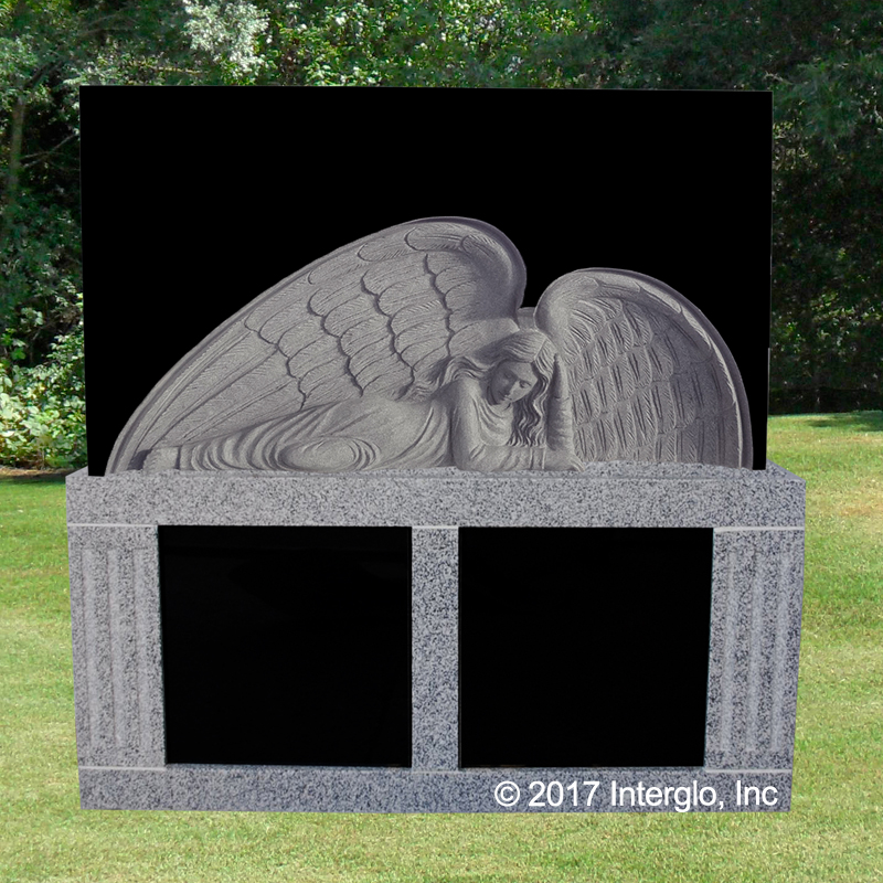 Angel in Repose – Bas Relief HEADSTONE on Base UNIT