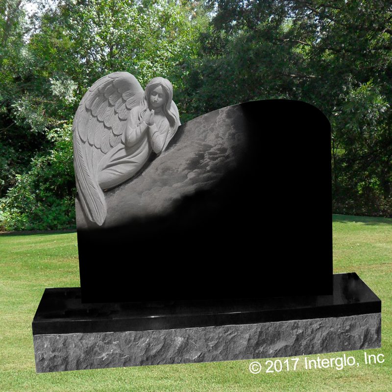 Angel on Clouds Headstone