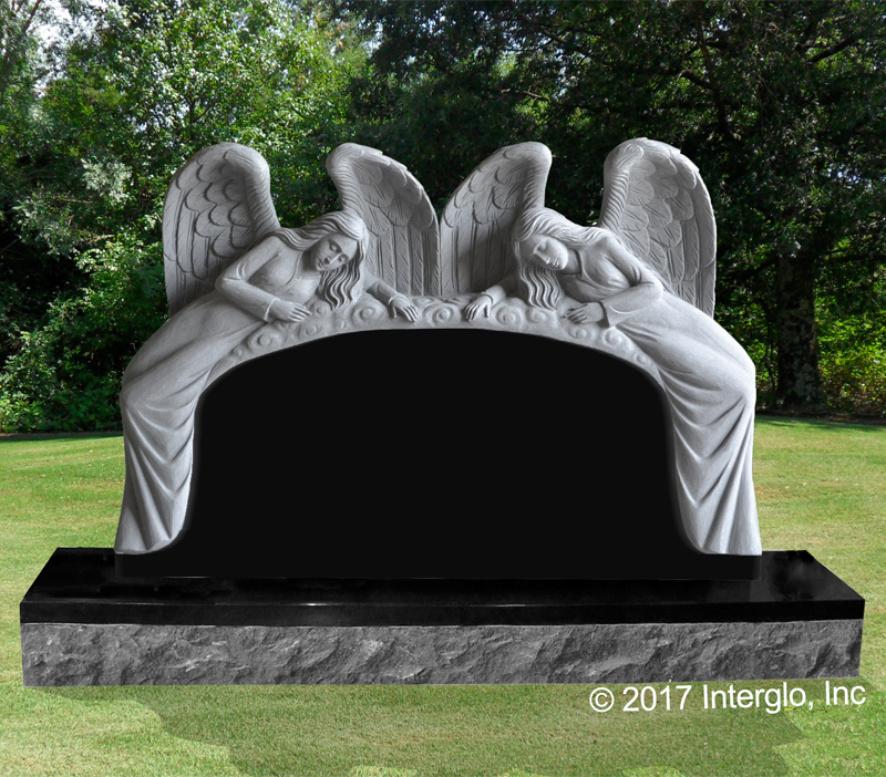 Double Angel on Clouds Headstone